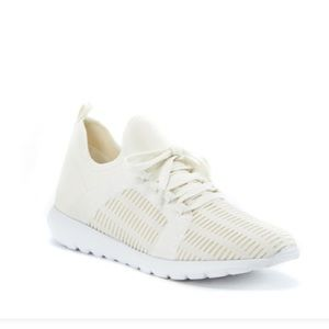 White Just Fab slip on sneakers